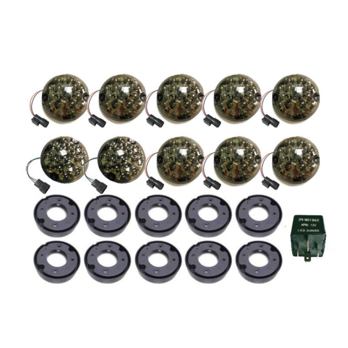 Land Rover Defender Smoke 95mm LED Light 10PC KIT